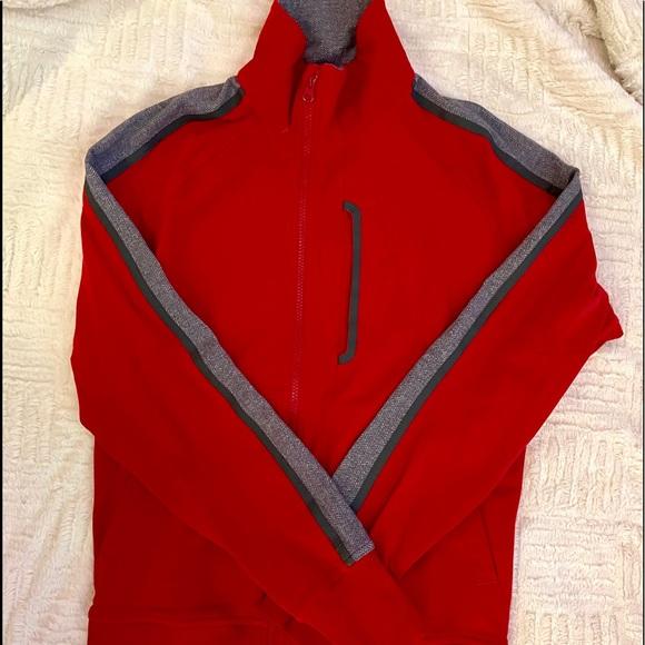Lululemon red jacket gray & herringbone accent